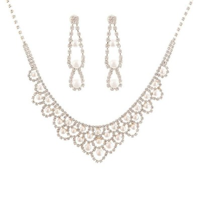 NLCAC Nobel Crystal Pearl Jewelry Set Women Necklace and Teardrop Earr