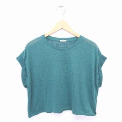 【中古】ジーユー GU ニット セーター 丸首 無地 シンプル 半袖 S 緑 グリーン /TT16 レディース