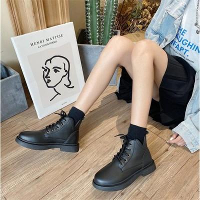 レディース ショートブーツ ブーティー 革靴 編み上げブーツ ローヒール JK オシャレ 女子靴
