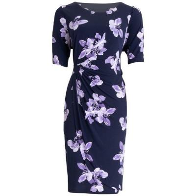 コネクテッド ワンピース トップス レディース Floral-Print Sheath Dress Navy/Lavender