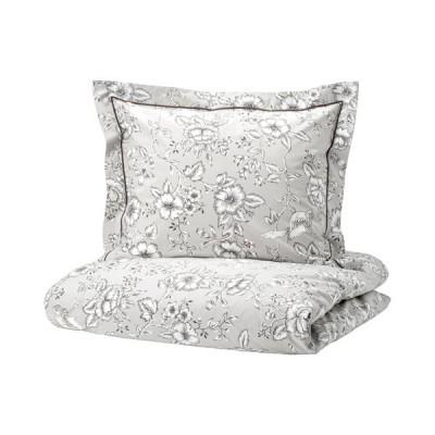 IKEA イケア プラクトブレカ 掛け布団カバー&枕カバー, ライトグレー/ホワイト150x200/50x60 cm
