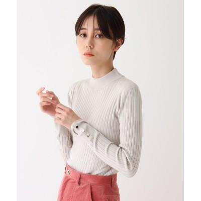 AG by aquagirl(エージー バイ アクアガール) ソリストヒート(R)袖ボタンハイネックリブニット【吸湿発熱】