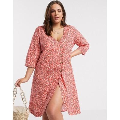 ヴェロモーダ ドレス 大きいサイズ レディース Vero Moda Curve button through mini dress in red ditsy floral エイソス ASOS マルチカラー