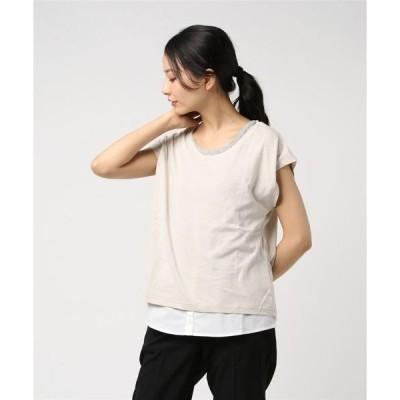 アンサンブル 天竺Tシャツ×シャツ付きタンクトップアンサンブル