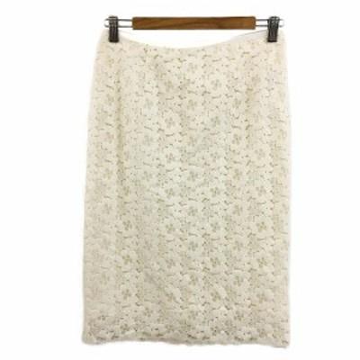 【中古】ナノユニバース garde-robe スカート タイト ひざ丈 総レース 花柄 38 白 ホワイト レディース