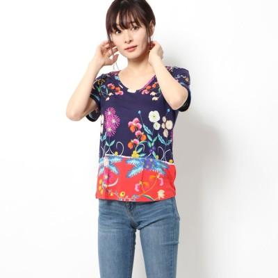 デシグアル Desigual Tシャツ半袖 TROPIC INDIA (ブルー)