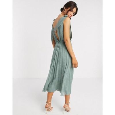 エイソス ASOS DESIGN レディース ワンピース ミドル丈 ワンピース・ドレス Asos Design Tie Shoulder Pleated Midi Dress In Sage Green セージグリーン
