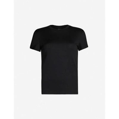 セオリー THEORY レディース Tシャツ トップス Tiny Tee cotton-jersey T-shirt BLACK