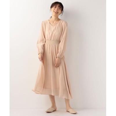 【ミューズ リファインド クローズ】 美スタイルシアーウェストリブワンピース レディース ベージュ M MEW'S REFINED CLOTHES