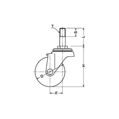 ネジ込み式 420A 自在車(ゴム一体車輪) ハンマーキャスター 420A-50R40 W3/8×16山(5)