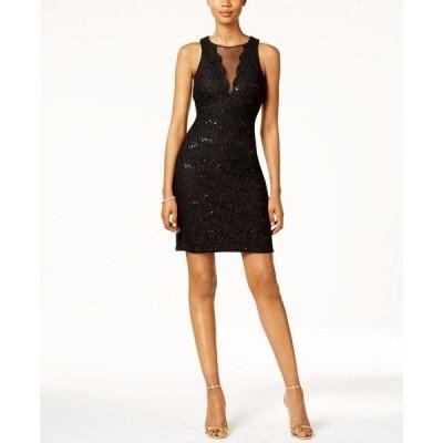 ナイトウェイ Nightway レディース パーティードレス カクテルドレス ワンピース・ドレス Sequined Lace Cocktail Dress Black