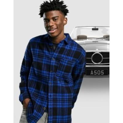 エイソス メンズ シャツ トップス ASOS DESIGN wool mix overshirt in blue and black tartan check Blues