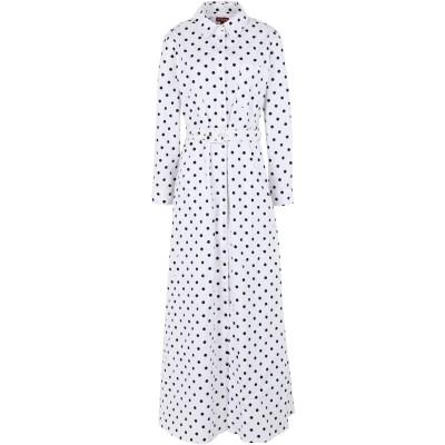 STAUD ロングワンピース&ドレス ホワイト XS コットン 98% / ポリウレタン 2% ロングワンピース&ドレス