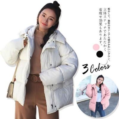 中綿ジャケット ダウン風ジャケット アウター レディース ショート丈 冬服 フード付 体型カバー 暖かい 防風防寒 シンプル カジュアル 軽量