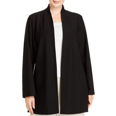 エイリーンフィッシャー ジャケット&ブルゾン アウター レディース Plus Size Stand-Collar Jacket Black
