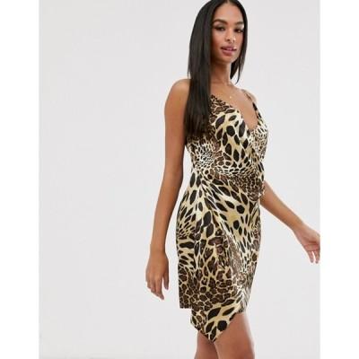 ベスパー レディース ワンピース トップス Vesper leopard wrap mini dress