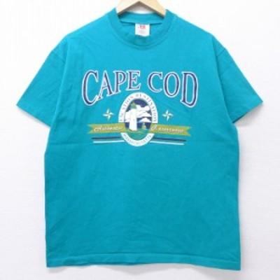 古着 半袖 ビンテージ Tシャツ 90年代 90s ケープコッド 灯台 コットン クルーネック USA製 青緑 Lサイズ 中古 メンズ Tシャツ 古着
