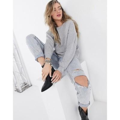 ヴィラ レディース シャツ トップス Vila paneled sweatshirt in light gray
