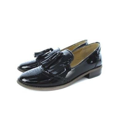 【中古】ボニカ スタジオ Bonica Studio タッセル ローファー オックスフォード シューズ 靴 エナメル ブラック S レディース 【ベクトル 古着】