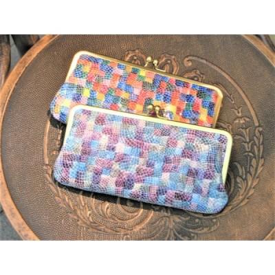 【日本製】【ステンドグラス・レザー】(2color)山羊革製・ガマ口長財布(ゴート革)rn-15