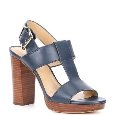 マイケルコース レディース サンダル シューズ MICHAEL Michael Kors Becker Leather T-Strap Dress Sandals Navy