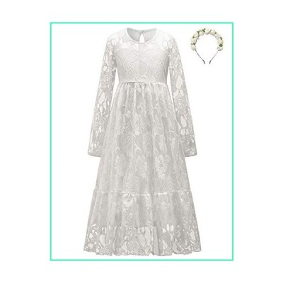 Ivory White Flower Girls Dresses Princess Lace Maxi Dress Wedding Party Gown 10 11並行輸入品