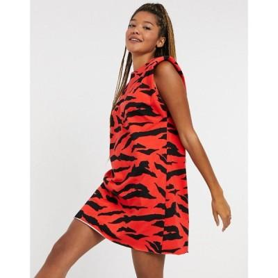 エイソス ASOS DESIGN レディース ワンピース ノースリーブ ワンピース・ドレス padded shoulder sleeveless mini dress in red zebra print