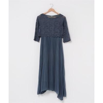 ドレス レース七分袖プリーツデザインロングワンピースドレス