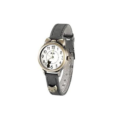 可愛い ねこ 猫 ガールズ 腕時計,fq234 グレー 革 ベルト 女子 学生 ウォッチ キッズ