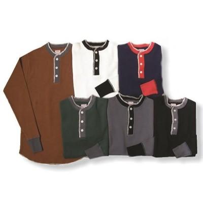 クッシュマン ワッフルツートンヘンリーネック 長袖Tシャツ コットン100% メンズ&レディース 26057
