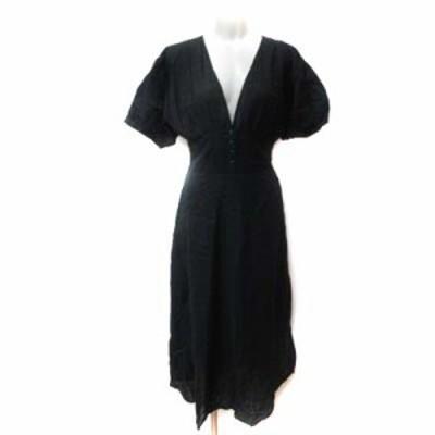 【中古】ダブルクローゼット w closet ロングワンピース 五分袖 刺繍 黒 ブラック /YI レディース