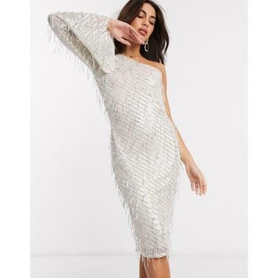 ゴッドディバ レディース ワンピース トップス Goddiva one sleeve embelished midi dress in silver Champagne