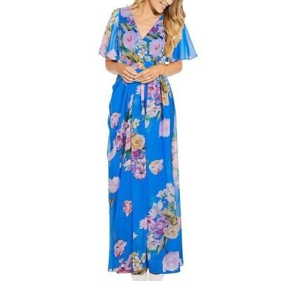 アドリアナ パペル ワンピース トップス レディース Floral-Print Chiffon Gown Ocean Dream Blue