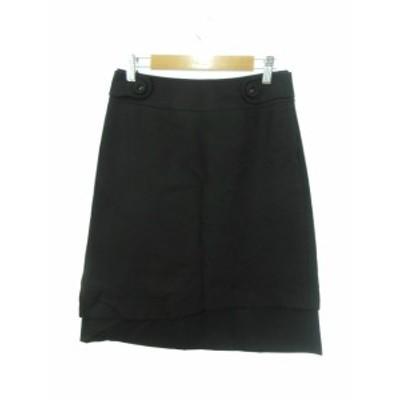 【中古】スーナウーナ Sunauna スカート ロング ミモレ 台形 ウール 36 黒 ブラック /Y2I7 レディース
