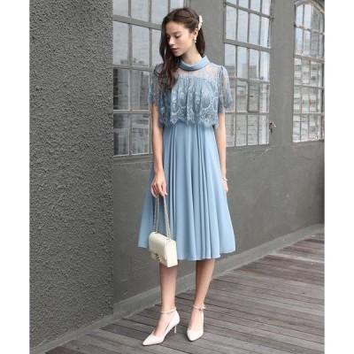 ドレス 【大きいサイズ有り!! LL、3L】ロールカラーネック デコルテシアー切替レースレイヤードワンピース