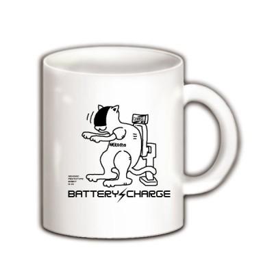 猫ロボット充電中 マグカップ(ホワイト)