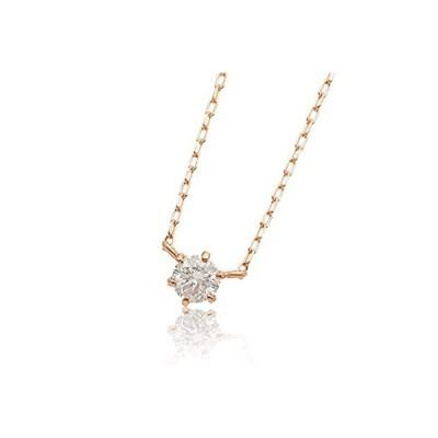 L&Co. (エルアンドコー) 【ペーパーボックス&バッグ付】 K18 シンプル ダイヤモンド 0.1ct 1粒 ネックレス 両吊りデザイン (ピンク