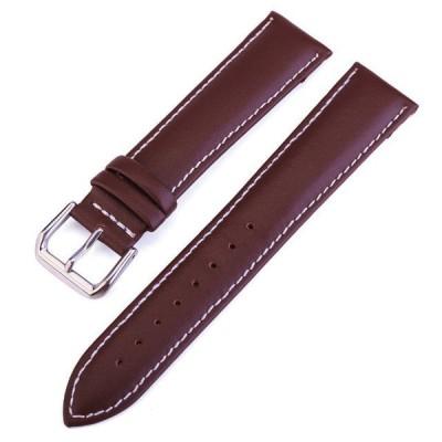 腕時計 (ラグ幅 21mm) レザー 革ストラップ ベルト (コーヒー ホワイトステッチ )バネ棒、ステンレスバックル付 送料無料