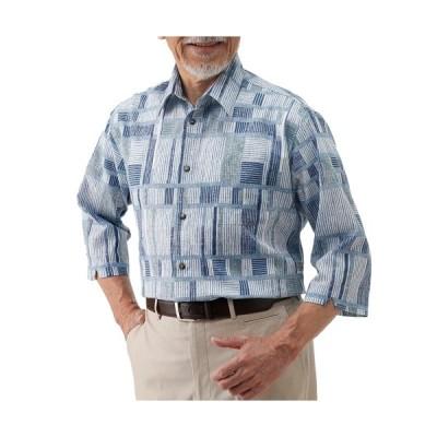 送料無料「春夏 日本製 ポールミラー 幾何学柄高島ちぢみ7分袖シャツ(同サイズ2色組) カジュアルシャツ メンズ 紳士服 シニア 男性」 p21430