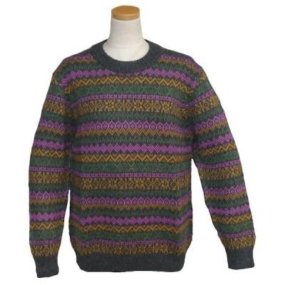 ALC-036-3 アルパカ100%セーター 女性 丸首 伝統柄 トラディショナル柄 暖かい