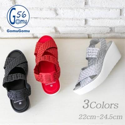 レディース サンダル 厚底  歩きやすい 履きやすい 痛くない Gomu56 ゴムゴム 靴 カジュアル 低反発インソール おしゃれ 春 夏