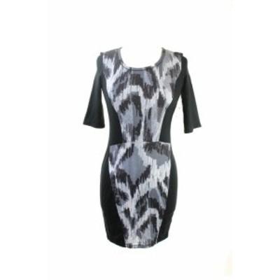 Rachel Roy レイチェルロイ ファッション ドレス Rachel Rachel Roy Nero Nuovo Elbow-Sleeve Printed-Paneled DRESS S