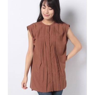 (Te chichi/テチチ)【Techichi】麻調タック使いシャツ NS/レディース ブラウン