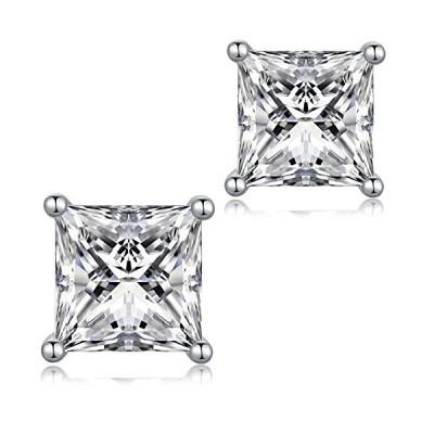 シルバー 925 ピアス 一粒 キュービックジルコニア ピアス CZダイヤモンド 四角形 スタッドピアス レディース メンズ