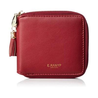 アイモン ウォレット 多機能 小さい財布 レディース 二つ折り ファスナー タッセル付き 3HENG-002-WR ワインレッド/