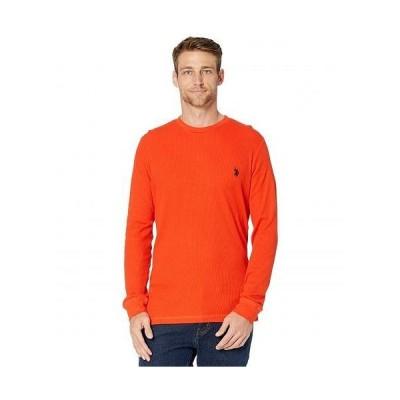 U.S. POLO ASSN. USポロ メンズ 男性用 ファッション Tシャツ Long Sleeve Crew Neck Solid Thermal Shirt - Harvest Orange