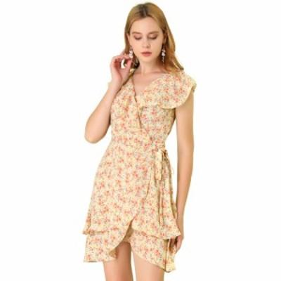 Allegra K ミニワンピース ドレス フリル 袖無し Vネック チューリップヘム 花柄 優雅 レディース イエロー XS