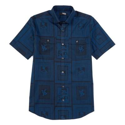 ムラノ メンズ シャツ トップス Liquid Luxury Slim-Fit Frame Print Short-Sleeve Woven Shirt Navy