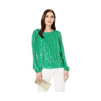 Lilly Pulitzer リリーピューリッツァー レディース 女性用 ファッション ブラウス Miriam Silk Top - Emerald Isle Salty Wave Metallic Clip Chiffon