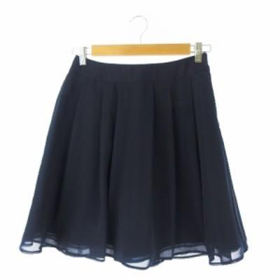 【中古】クイーンズコート QUEENS COURT スカート フレア ミニ タック 2 紺 ネイビー /YH6 ★ レディース